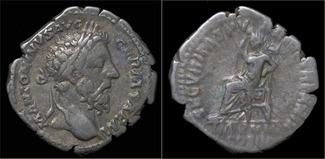 denarius 161-180AD Roman Marcus Aurelius AR denarius Securitas enthroned left- unpublished in RIC, BMC or VF