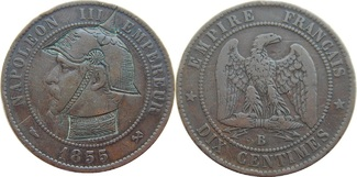 10 dix centimes 1855 France Napoleon III. Mint (B) Rouen VF