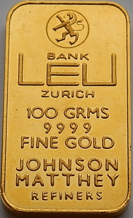 Gold Bar Switzerland Schweiz Bank Leu 100 Gram Fine Unc