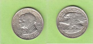 Half Dollar 1921 USA Alabama Centennial mit 2 x 2, sehr selten fast vz
