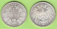 1 Mark 1906 F Kaiserreich toll erhalten vz...