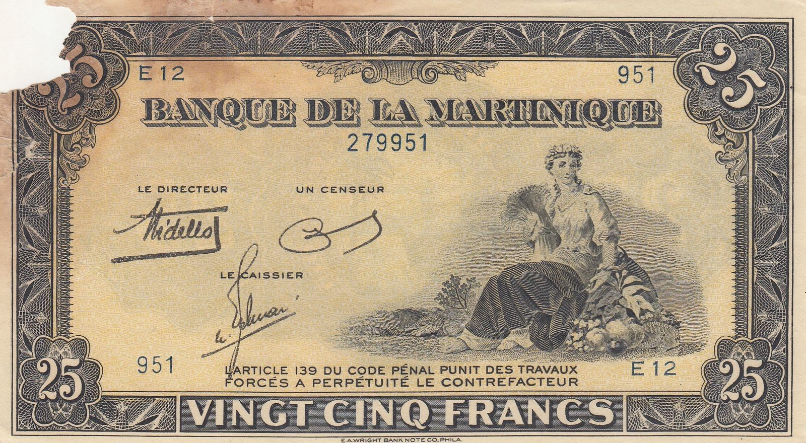Martinique 25 Francs Nd1943 Serial E12 Woman Seated With Fruits