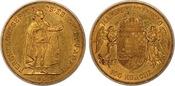 1908-KB Austria - Hungary Franz Joseph I Original Strike Gold 100 Korona UNC