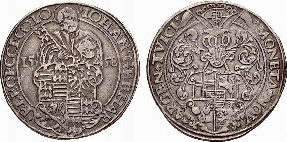 taler 1558 deutz k ln erzbistum johann gebhard von mansfeld 1558 1562 vf vf ma shops. Black Bedroom Furniture Sets. Home Design Ideas