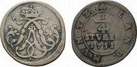 Cu 1/4 Stüber 1751 Wied-Neuwied Johann Friedrich Alexander 1737-1791 Se... 88,00 EUR  +  5,00 EUR shipping