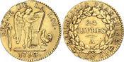 24 Livres Gold 1793  A Frankreich Erste Republik. Sehr schön +