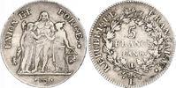 5 Francs AN 8 L Frankreich Erste Republik....
