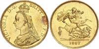 5 Pounds Gold 1887 Großbritannien Victoria...
