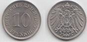 10 Pfennig 1909 J Kaiserreich  Fast Stempelglanz