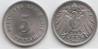 5 Pfennig 1911 F Kaiserreich  Fast Stempelglanz / Stempelglanz  20,00 EUR  +  5,00 EUR shipping