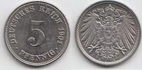 5 Pfennig 1901 A Kaiserreich  Leicht berieben, vorzüglich-Stempelglanz  8,00 EUR  +  5,00 EUR shipping