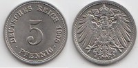 5 Pfennig 1908 A Kaiserreich  Fast Stempelglanz  18,00 EUR  +  5,00 EUR shipping