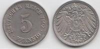 5 Pfennig 1902 F Kaiserreich  Vorzüglich-Stempelglanz  24,00 EUR  +  5,00 EUR shipping
