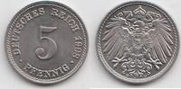 5 Pfennig 1908 D Kaiserreich  Fast Stempelglanz  20,00 EUR  +  5,00 EUR shipping
