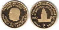 2 Dinars 1967 Tunesien Republik Gold 2 Din...