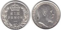 Sixpence 1906 Grossbritannien Edward VII. 1901-1910 vorzüglich  55,00 EUR  +  5,00 EUR shipping