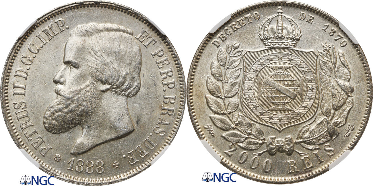 2000 Reis 1888 Brazil NGC MS 62