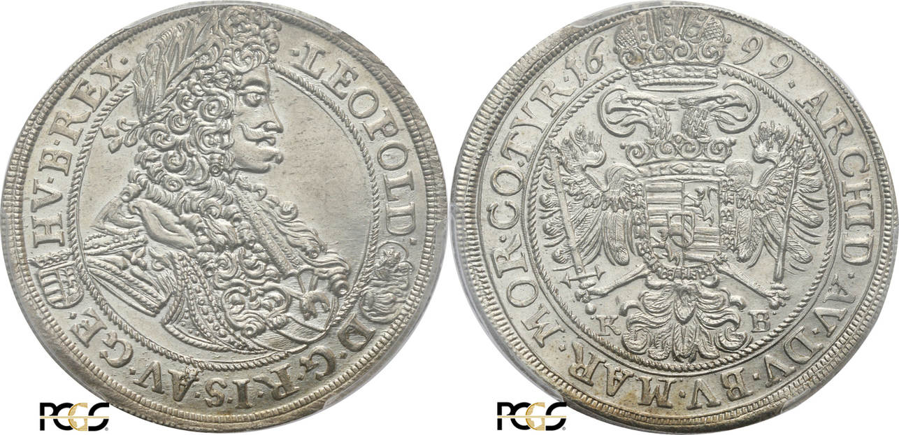 66717d990 1/2 Thaler 1699-KB Hungary Kremnitz, Leopold I 1657-1705, PCGS Genuine UNC  Details (92 - Cleaned)   MA-Shops