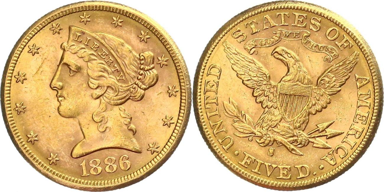 5 Dollar 1886 Usa Half Eagle Liberty Coronet Head S Gold In Vz Xf