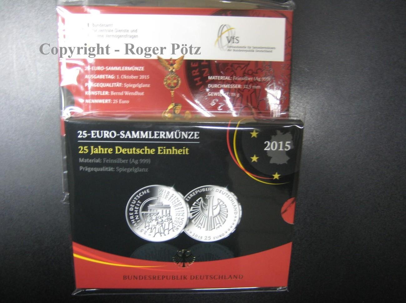 25 Euro 2015 Brd 25 Euro 2015 Deutsche Einheit Silber Pp