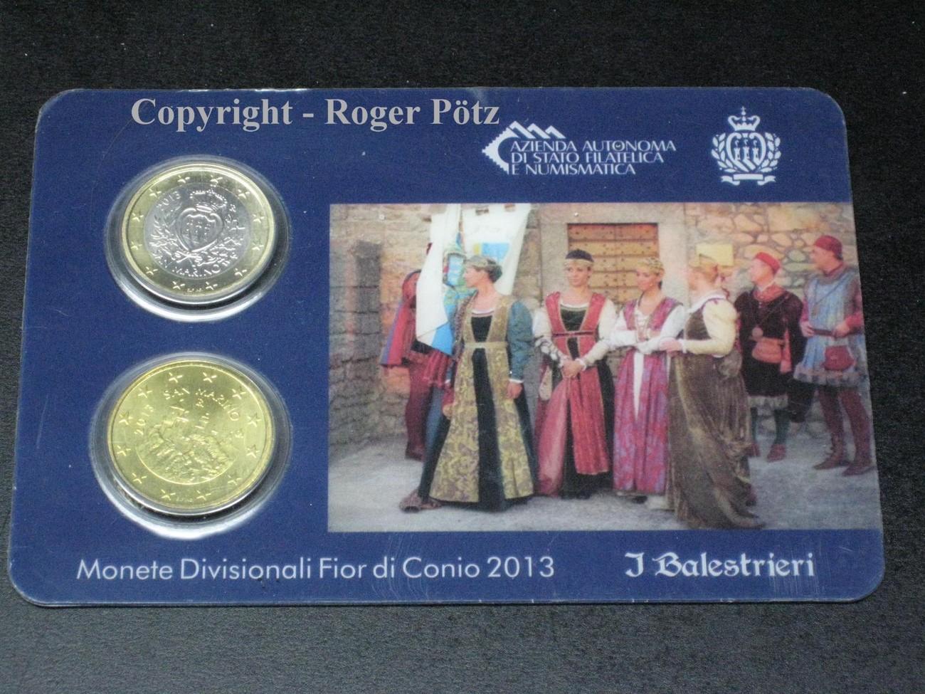 150 Euro 2013 San Marino 1 Euro Und 50 Cent 2013 Miniset A1b Bu