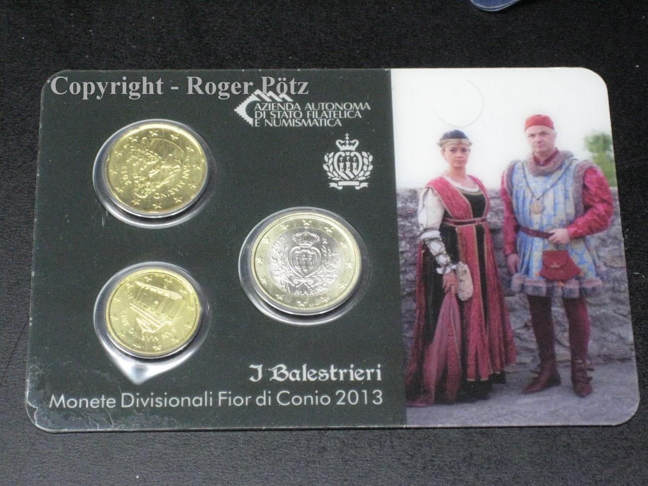 130 Euro 2013 San Marino 1 Euro Und 20 Cent Und 10 Cent 2013