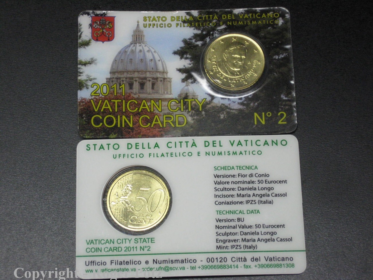 50 Cent 2011 Vatikan 50 Cent 2011 Coincard Nummer 2 Stempelglanz Bu