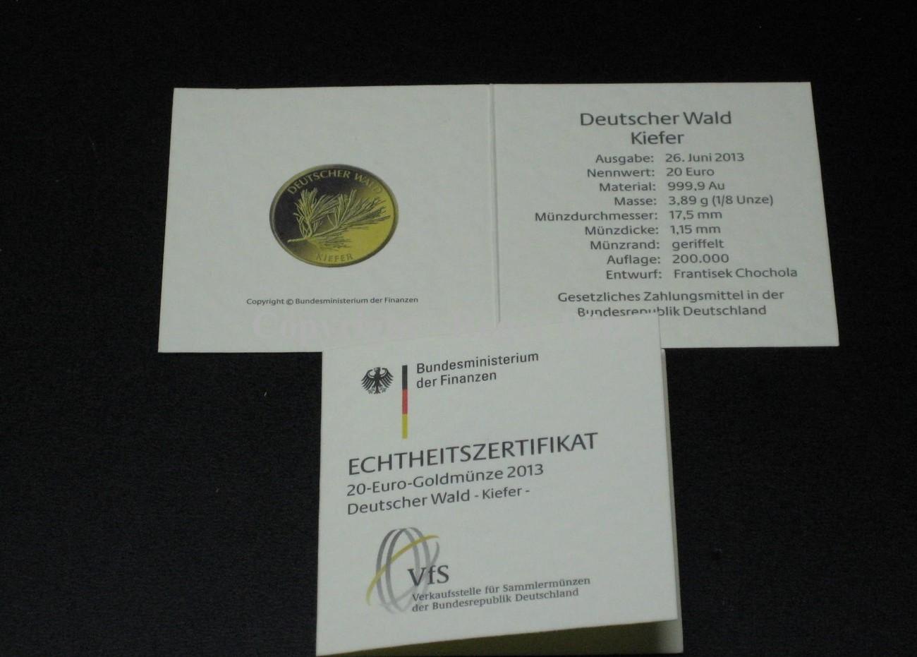 Ohne 2013 Brd Echtheits Zertifikat Für Die Münze 20 Euro Gold Kiefer