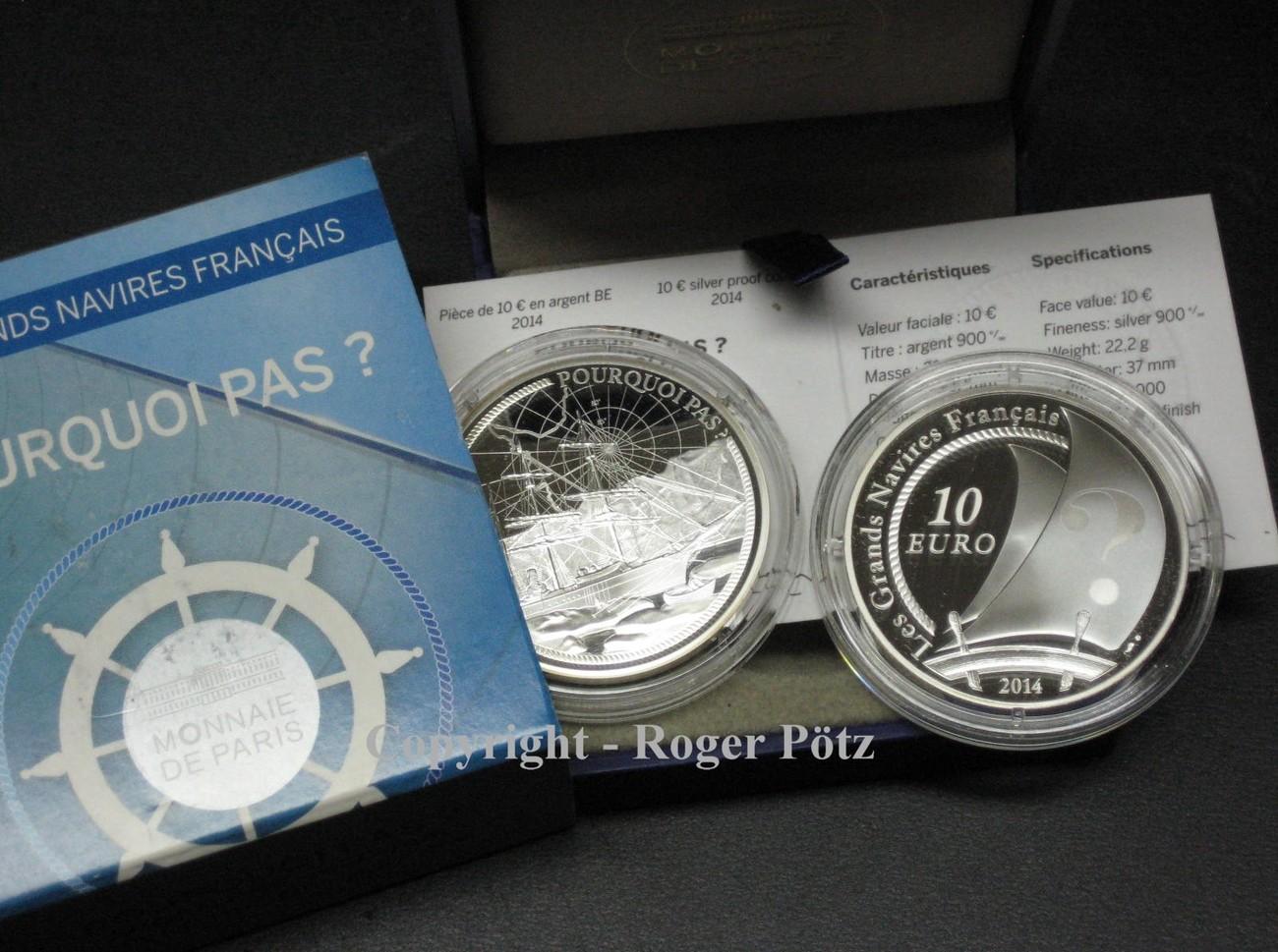 10 Euro 2014 Frankreich 10 Euro 2014 Silber Pp Große Schiffe