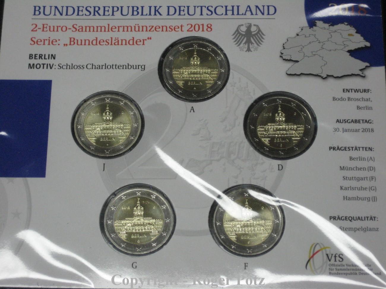 5 X 2 Euro 2018 Brd 5 X 2 Euro 2018 St Blister Bundesländer Berlin