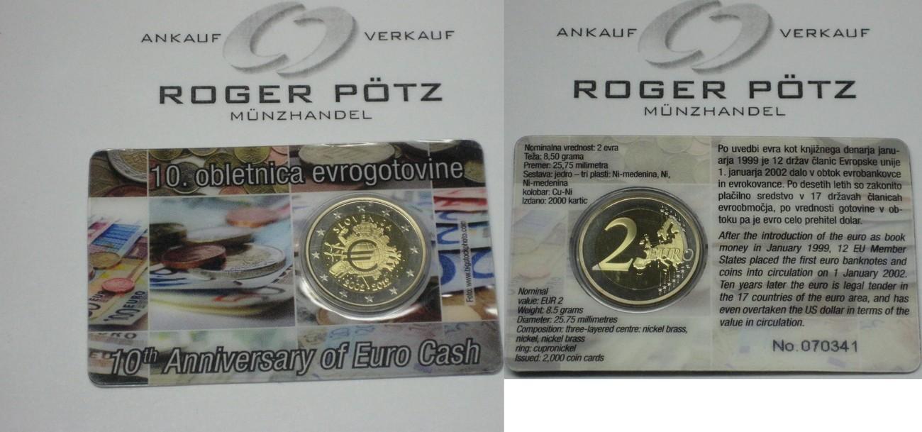 dece735a75 2 Euro 2012 SLOWENIEN 2 Euro 2012 Slowenien 10 Jahre Bargeldumlauf PP in  offizieller Coincard proof