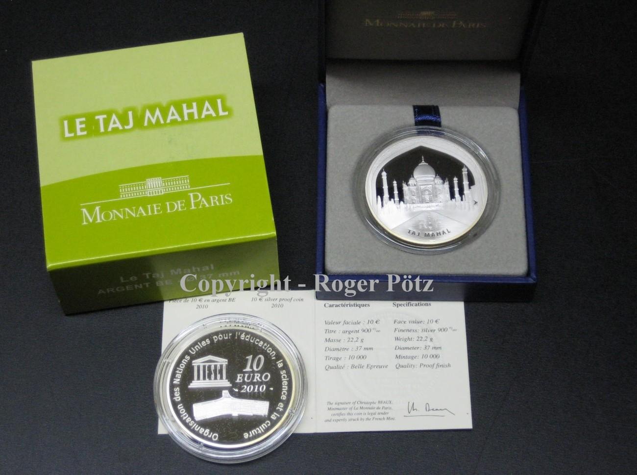 10 Euro 2010 Frankreich 10 Euro 2010 Unesco Taj Mahal Silber Pp Fb