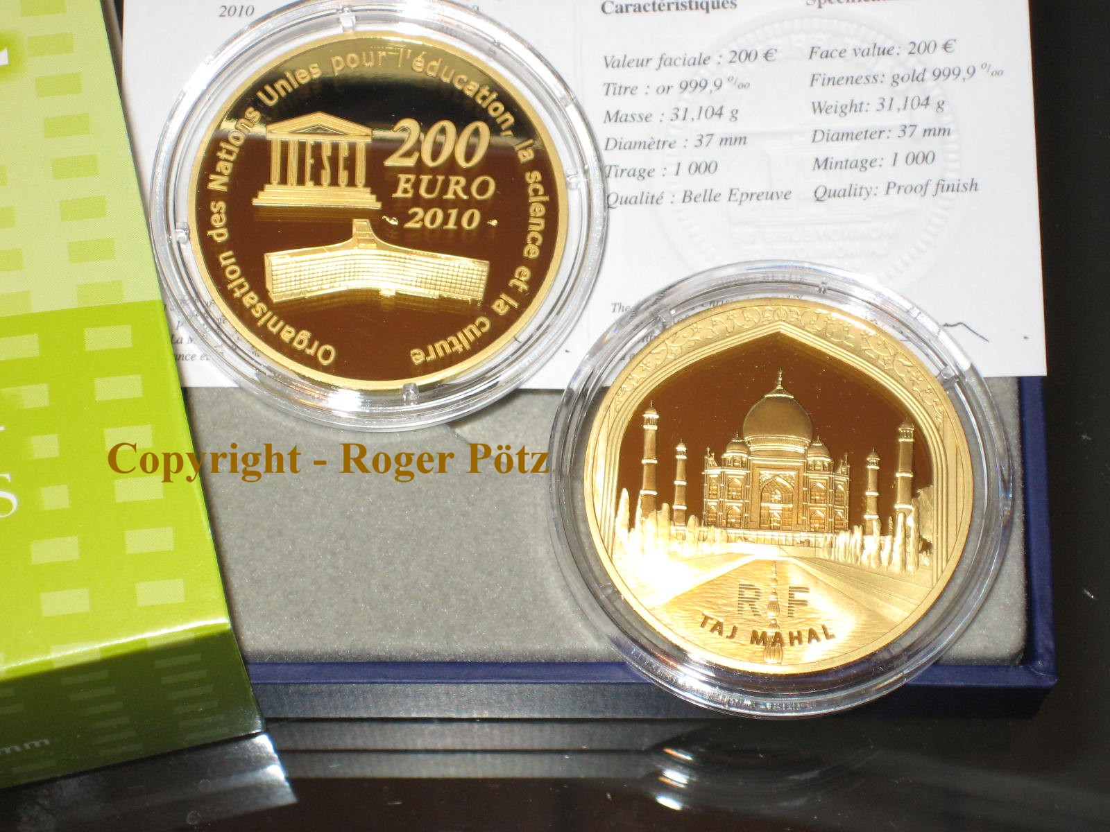 200 Euro 2010 Frankreich 200 Euro Frankreich 2010 Taj Mahal 1 Unze
