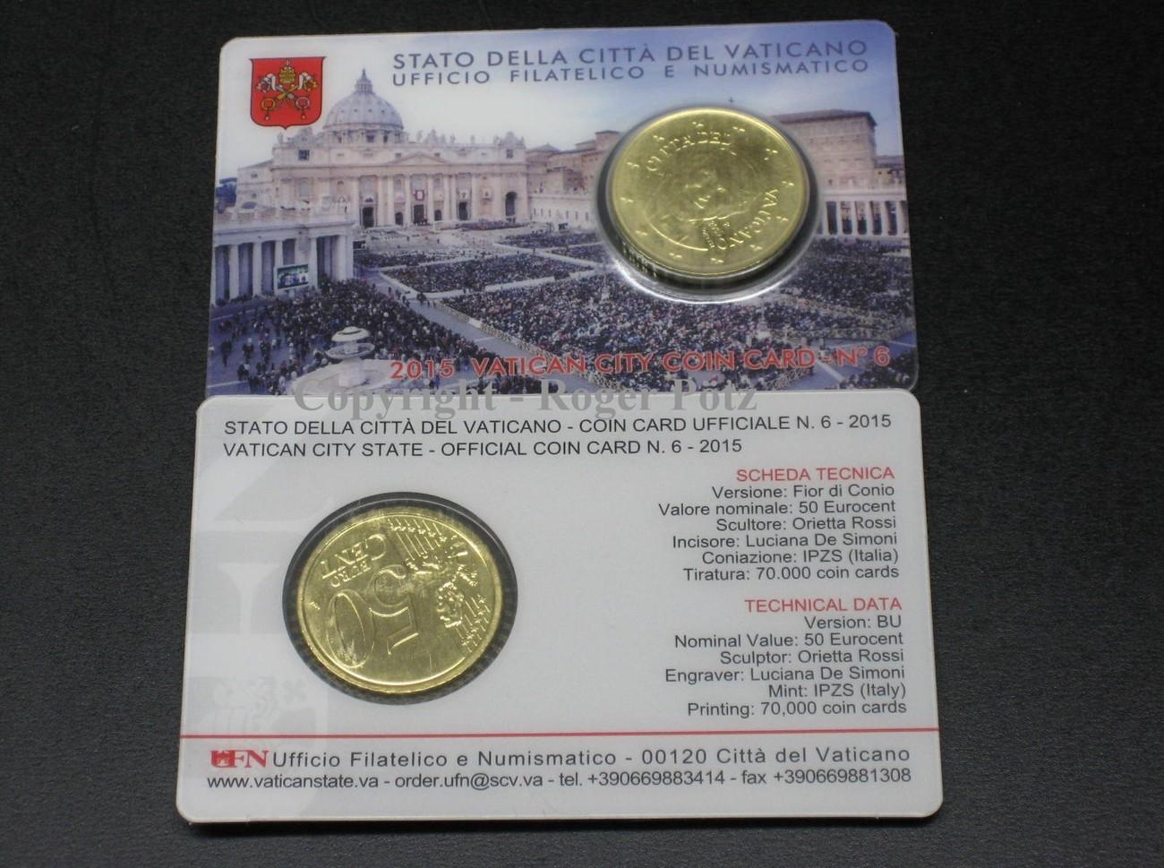 50 Cent 2015 Vatikan 50 Cent Coincard 2015 Papst Franziskus St Nur