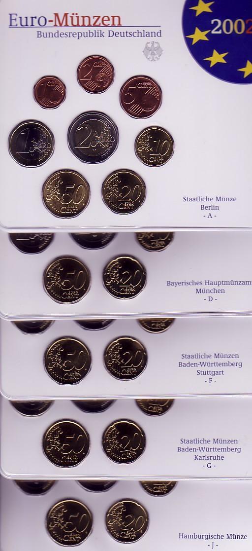 1940 Euro 2002 Bundesrepublik Deutschland Brd Kursmünzensätze 2002