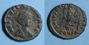 402-404 n.  RÖMISCHE KAISERZEIT Eudoxia, épouse d'Arcadius. Centenionalis. Constantinople, 1ère officine, 402-40 R ! Flan court / revers, ss+