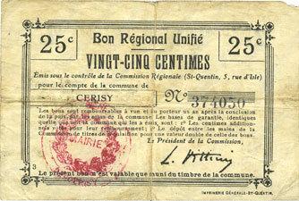 French Emergency Notes Cerisy 02 Mairie Billet Bru 25 Cmes Petit Manque Sur Un Coin F
