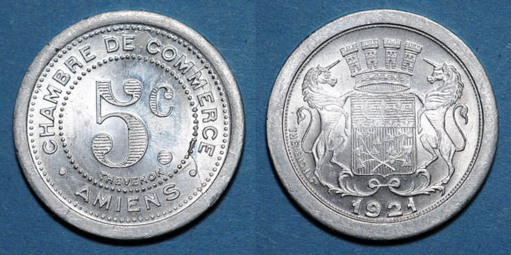 1921 french emergency coins amiens 80 chambre de for Chambre de commerce amiens