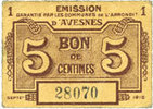 1915 FRANZÖSISCHE NOTSCHEINE Avesnes (59)...