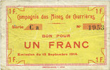 15.9.1914 FRENCH EMERGENCY NOTES Courrières (62). Compagnie des Mines.... 12,00 EUR  +  7,00 EUR shipping