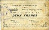 11.5.1915 FRENCH EMERGENCY NOTES Honnecourt (59). Commune. Billet. 2 f... 4,00 EUR  +  7,00 EUR shipping