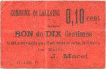FRENCH EMERGENCY NOTES Lallaing (59). Commune. Billet. 10 centimes ss+  28,00 EUR  +  7,00 EUR shipping