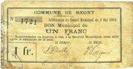 8.5.1915 FRENCH EMERGENCY NOTES Regny (02). Commune. Billet. 1 franc 8... 5,00 EUR  +  7,00 EUR shipping