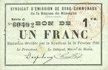 20.2.1916 FRANZÖSISCHE NOTSCHEINE Rimogne...