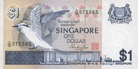 1976 OTHER FOREIGN NOTES Singapour. Billet. 1 dollar (1976) I  3,50 EUR  +  7,00 EUR shipping