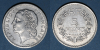 1946 FRENCH MODERN COINS Gouvernement provisoire (1944-1947). 5 francs... 4,00 EUR  +  7,00 EUR shipping