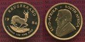 1 Unze Krügerrand Gold 1984 Südafrika, South Afrika Krügerrand 1 Unze Krugerrand Polierte platte lose mit Box