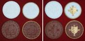4 Porzellanmedaillen 1925 Deutschland Wohnung und Siedlung - Medaillensuite Porzellan weiss und braun Prfr. in Originalbox