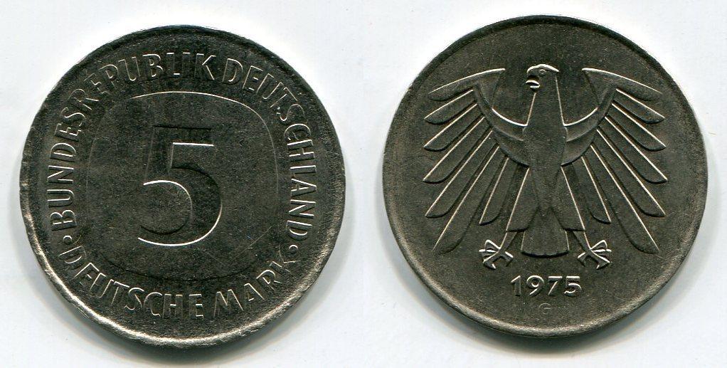 5 Dm Fehlprägung 1975 G Bundesrepublik Deutschland Auf Dünnem