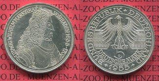 5 DM Gedenkmünze Silber 1955 Bundesrepublik Deutschland, FRG 5 DM 1955 G, 300. Geburtstag Ludwig Wilhelm  Markgraf v. Baden sog. Türkenlouis f. vz, patina
